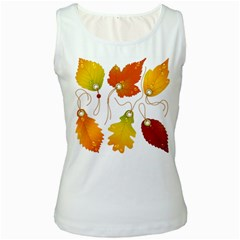 Vector Beautiful Maple Leaf Women s White Tank Top