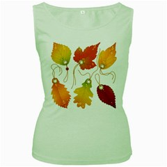 Vector Beautiful Maple Leaf Women s Green Tank Top