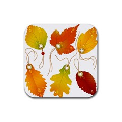 Vector Beautiful Maple Leaf Rubber Coaster (Square)