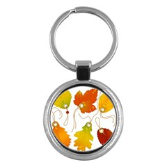 Vector Beautiful Maple Leaf Key Chains (Round)
