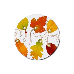 Vector Beautiful Maple Leaf Rubber Round Coaster (4 pack)