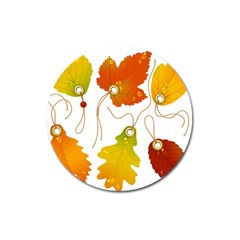 Vector Beautiful Maple Leaf Magnet 3  (Round)