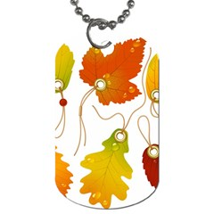 Vector Beautiful Maple Leaf Dog Tag (Two Sides)