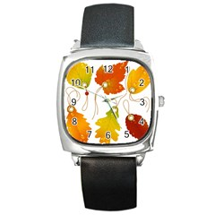 Vector Beautiful Maple Leaf Square Metal Watch