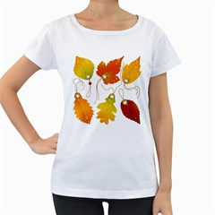 Vector Beautiful Maple Leaf Women s Loose-Fit T-Shirt (White)