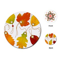 Vector Beautiful Maple Leaf Playing Cards (Round)