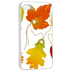 Vector Beautiful Maple Leaf Apple iPhone 4/4s Seamless Case (White)