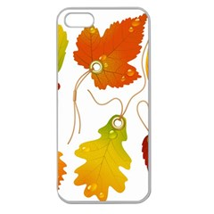 Vector Beautiful Maple Leaf Apple Seamless iPhone 5 Case (Clear)
