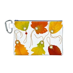 Vector Beautiful Maple Leaf Canvas Cosmetic Bag (M)