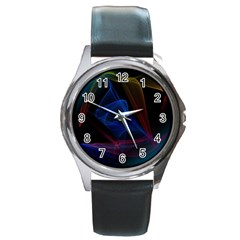Lines Rays Background Light Pattern Round Metal Watch