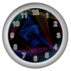 Lines Rays Background Light Pattern Wall Clocks (Silver)