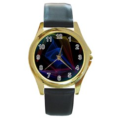 Lines Rays Background Light Pattern Round Gold Metal Watch