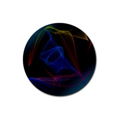 Lines Rays Background Light Pattern Rubber Coaster (Round)