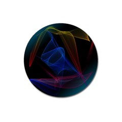 Lines Rays Background Light Pattern Magnet 3  (round)