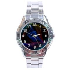 Lines Rays Background Light Pattern Stainless Steel Analogue Watch