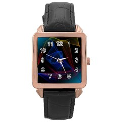 Lines Rays Background Light Pattern Rose Gold Leather Watch