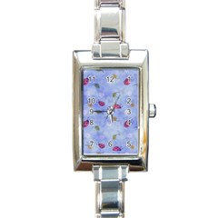 Ladybug Blue Nature Rectangle Italian Charm Watch