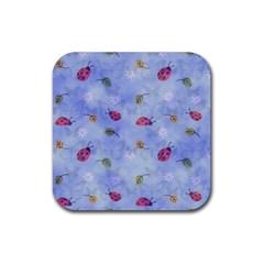 Ladybug Blue Nature Rubber Coaster (Square)