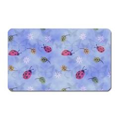 Ladybug Blue Nature Magnet (Rectangular)
