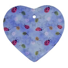 Ladybug Blue Nature Heart Ornament (Two Sides)