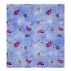 Ladybug Blue Nature Shower Curtain 66  x 72  (Large)
