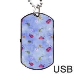 Ladybug Blue Nature Dog Tag USB Flash (One Side)