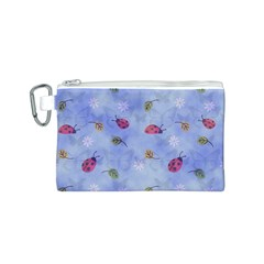 Ladybug Blue Nature Canvas Cosmetic Bag (S)