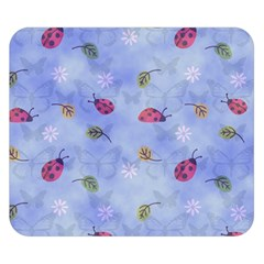 Ladybug Blue Nature Double Sided Flano Blanket (small)