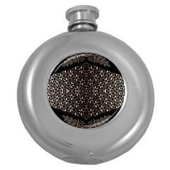 Art Background Fabric Round Hip Flask (5 oz)