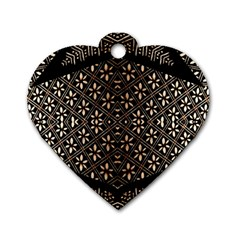 Art Background Fabric Dog Tag Heart (Two Sides)