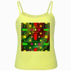 Art Rectangles Abstract Modern Art Yellow Spaghetti Tank