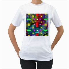 Art Rectangles Abstract Modern Art Women s T-Shirt (White) (Two Sided)