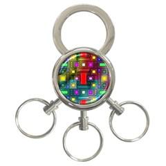 Art Rectangles Abstract Modern Art 3-Ring Key Chains