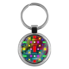 Art Rectangles Abstract Modern Art Key Chains (Round)