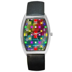 Art Rectangles Abstract Modern Art Barrel Style Metal Watch