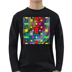 Art Rectangles Abstract Modern Art Long Sleeve Dark T-Shirts
