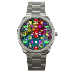 Art Rectangles Abstract Modern Art Sport Metal Watch