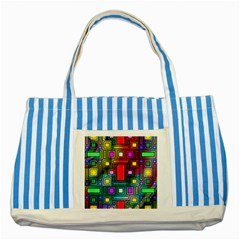 Art Rectangles Abstract Modern Art Striped Blue Tote Bag