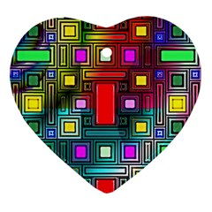 Art Rectangles Abstract Modern Art Heart Ornament (two Sides)