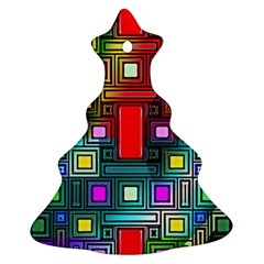 Art Rectangles Abstract Modern Art Christmas Tree Ornament (Two Sides)
