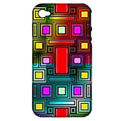 Art Rectangles Abstract Modern Art Apple iPhone 4/4S Hardshell Case (PC+Silicone)