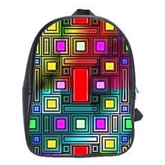 Art Rectangles Abstract Modern Art School Bags (xl)