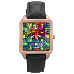 Art Rectangles Abstract Modern Art Rose Gold Leather Watch