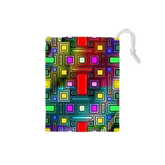 Art Rectangles Abstract Modern Art Drawstring Pouches (small)