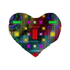 Art Rectangles Abstract Modern Art Standard 16  Premium Flano Heart Shape Cushions