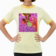 Abstract Flowers Digital Art Women s Fitted Ringer T-Shirts