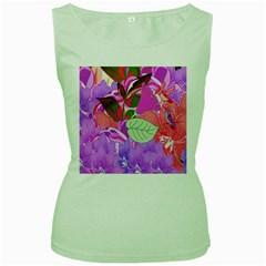 Abstract Flowers Digital Art Women s Green Tank Top