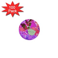 Abstract Flowers Digital Art 1  Mini Buttons (100 Pack)