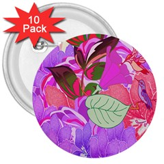 Abstract Flowers Digital Art 3  Buttons (10 pack)