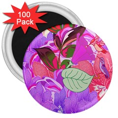 Abstract Flowers Digital Art 3  Magnets (100 pack)